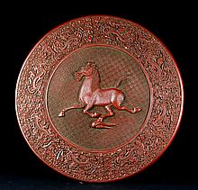 A QING KANGXI MARK 'RUNNING HORSE' CIRCULAR BASIN WITH JAPANESE OLD WOOD CASE
