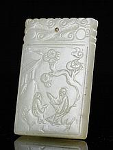 A PALE GREENISH-WHITE JADE RECTANGULAR PLAQUE