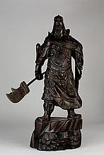A CARVED ZITAN/ROSEWOOD FIGURE OF GUANGONG