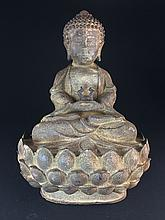 AN IRON FIGURE OF BUDDHA