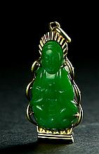 A JADEITE PENDANT OF GUANYIN