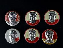 A GROUPF OF SIX CHAIRMAN MAO'S BADGES