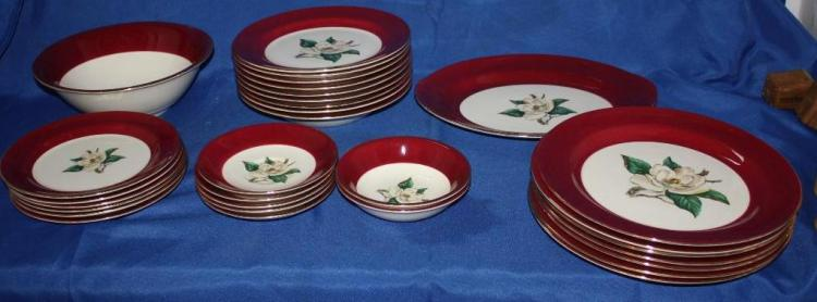 Lifetime China Co. Burgundy Dishes
