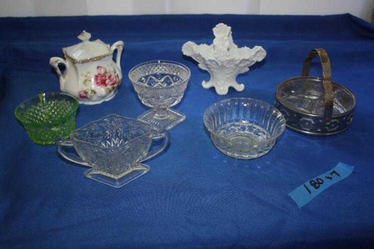 7 pc. misc. Dishware and 1 dish with Handle