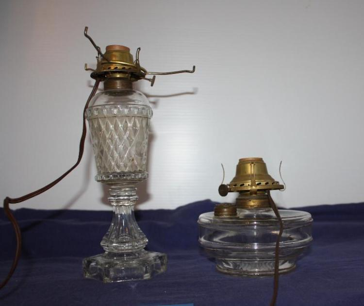 2 Electricfied Oil Lamps, 1 is a whale oil lamp.
