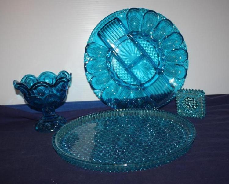 4 Piece Blue Glass Set