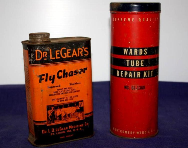 Wards Tube Repair Kit Can, Dr. LeGear's Fly Chaser Can