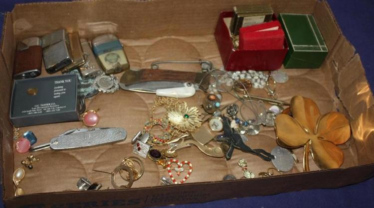 Lot of Costume Jewelry & Lighters, Knives, Early Eye Glasses.