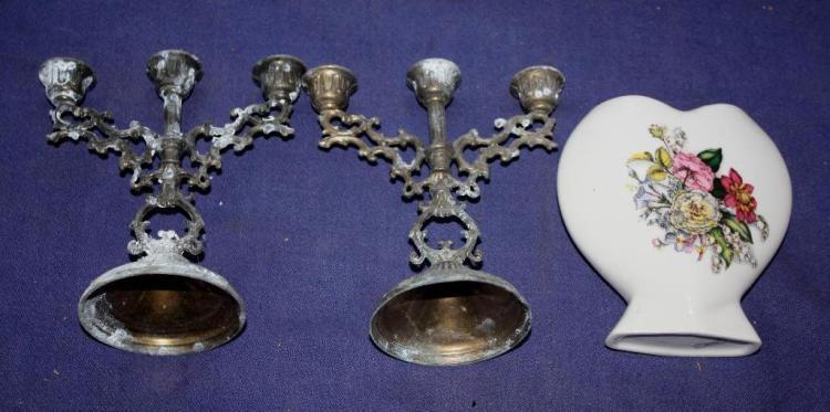 2 Candlesticks & Vase.