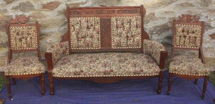 PARLOR SET-3PCS WITH ARM SETTEE AND 2 SIDE