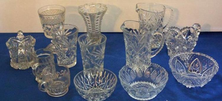 13pcs. misc. glassware pressed glass.