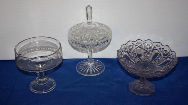 1 Cut crystal Candy Dish, 2 Glass Compotes