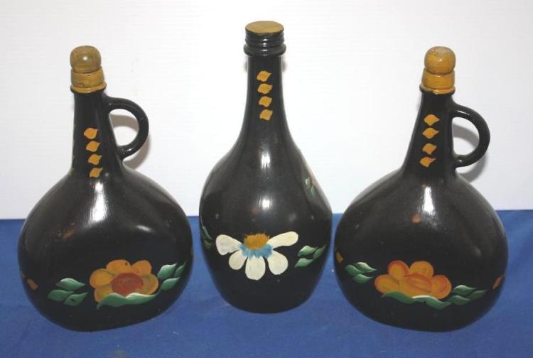 3 Hand Painted Bottles.
