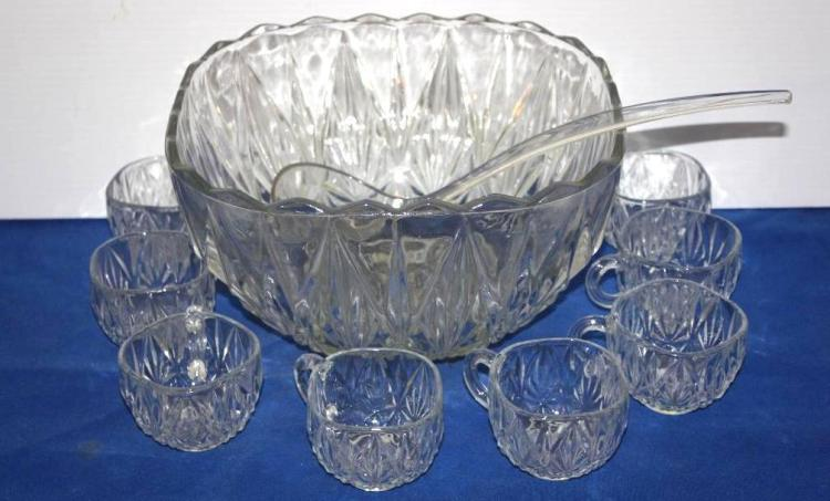 Pressed Glass Punch Bowl Set, Including Plastic Ladle