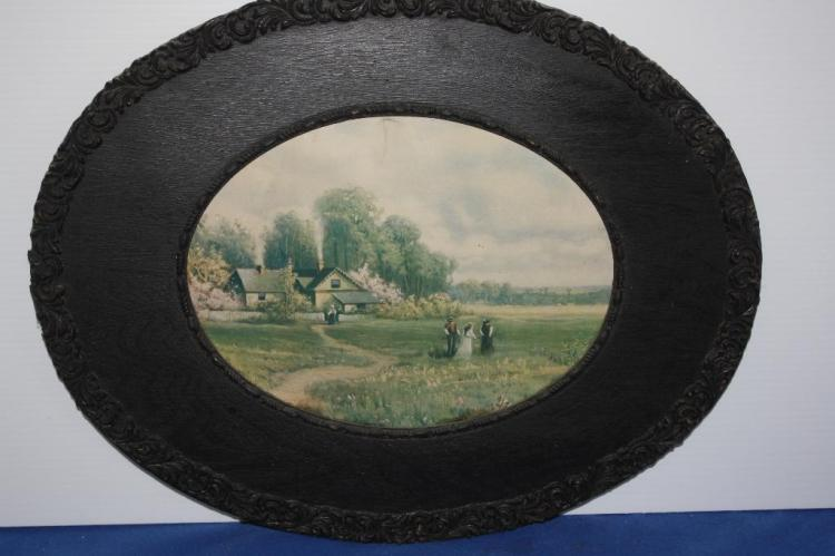 Painting of Ranch Scene w/ Black Frame