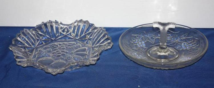 2 Press Glass Plates w/ Fruit Design