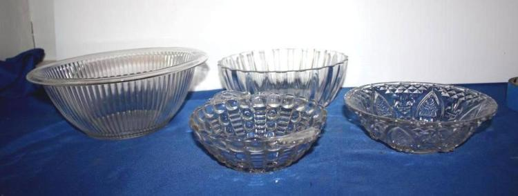 4 Misc. Pressed Glass Bowls
