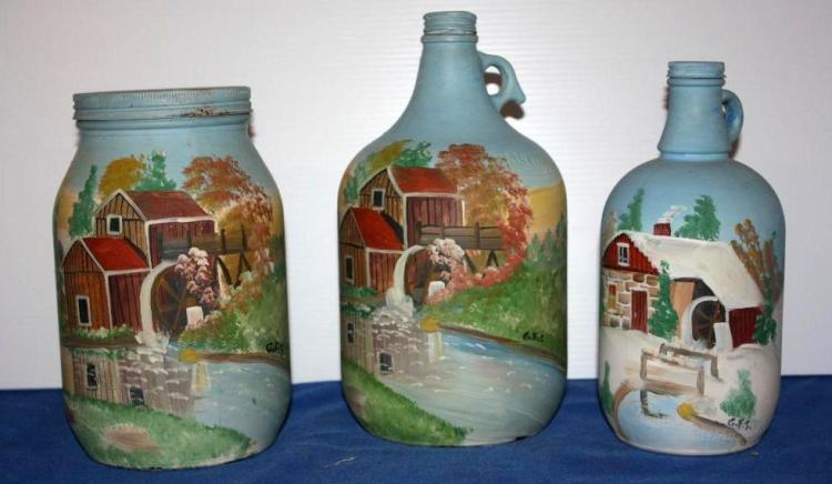 3 Handpainted Jugs