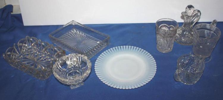 8 Pc. Misc Pressed Glass & Crystal Dishes