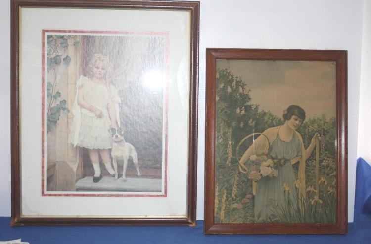 Framed Pic w/ Girl and Dog, Framed Pic Lady w/ Flowers