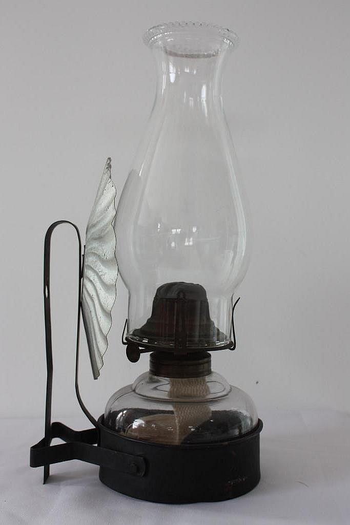 Glass Kerosene Lamp, w/wall mount bracket