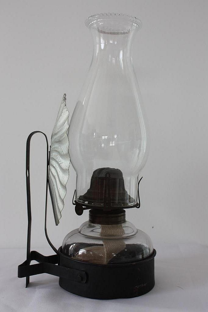 Wall Kerosene Lamps : Glass Kerosene Lamp, w/wall mount bracket