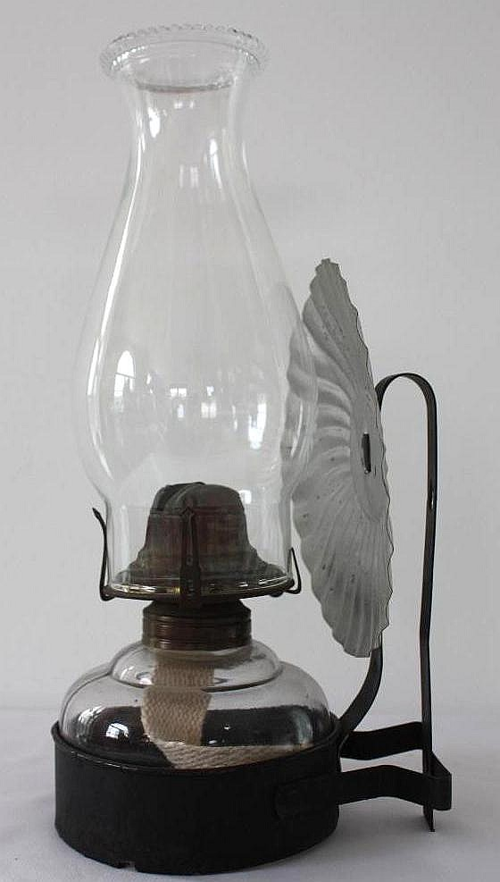 Glass Kerosene Lamp, w/wall mount bracket