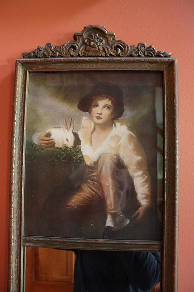Antique Ornate Picture Mirror Boy Amp Rabbit Rembrandt Class
