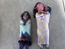 Two Very Old Native American Indian Character Dolls