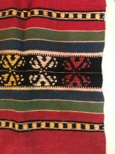 Vintage Hand Woven Rug Red Black Green and Yellow