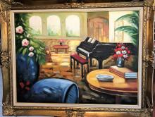 Oil on Canvas with COA-Piano situated in a room filled with flowers, windows, books on a table and very large vases.