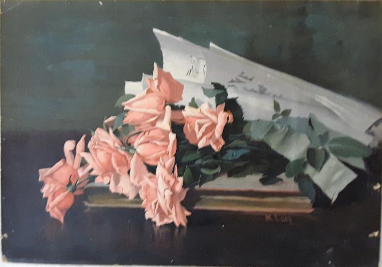 "Original ""Sunny American La France Roses"" by the artist Marie Koupal Lusk"