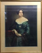 Large Mid Victorian Framed Portrait of a Venetian During the Victorian Era.  Measures 30 X 36