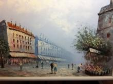 Oil on Canvas Painting of Parisian Street - People Strolling & Buying Flowers at a Flower Stand – Measures 26