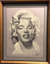 Charcoal Portrait of Marilyn Monroe Signed by MAX 20 x 24