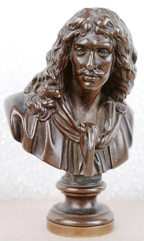 cachet en bronze patin figurant le buste de moli re. Black Bedroom Furniture Sets. Home Design Ideas