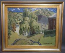 """Emmanuel MEURIS. Huile sur toile signée E. Meuris """"Le vieux frêne sur les r"""