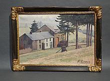 """Huile sur toile signée L. Loncin """"Ferme en Ardenne"""". 55x37 cm"""