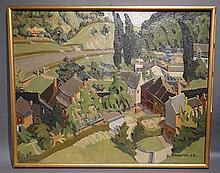 """Huile sur toile signée Meuris """"Panorama à Fraipont"""". 92x75 cm"""