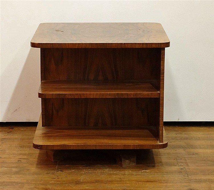 biblioth que tournante art d co en loupe de noyer. Black Bedroom Furniture Sets. Home Design Ideas