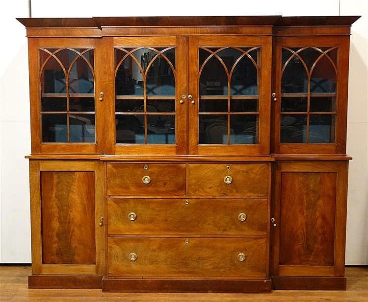 meuble vitrine anglais en acajou h 197 cm l 233 cm p