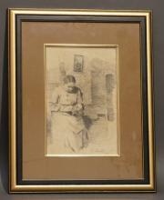 """Dessin à la mine de plomb signé L. Baues """"Couturière"""". 30x20 cm"""