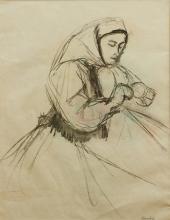 Woman At Handicraft