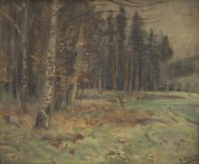 deers on a forest clearing, 1934