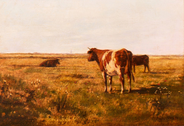 Cows in wide landscape in France; 1889