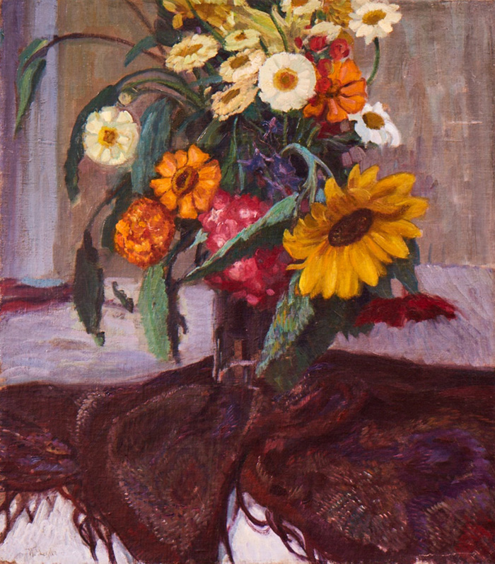 Floral Still Life With Scarf