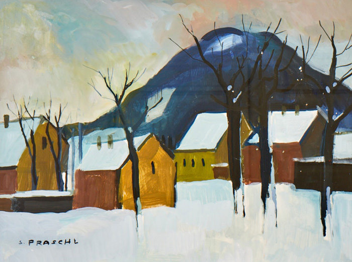 Winter Landscape with Yellow Houses