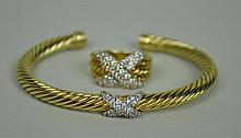 DAVID YURMAN 14K & DIAMOND X BRACELET & RING