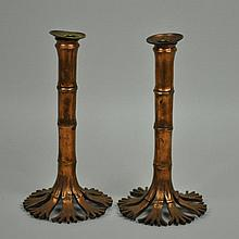 PAIR TIFFANY STUDIOS BRONZE CANDLESTICKS