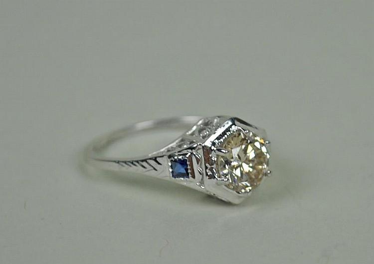 ART DECO DIAMOND & SAPPHIRE ENGAGEMENT RING, .93CT